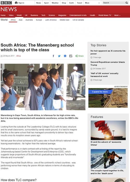 South Africa: The Manenberg school which is top of the class