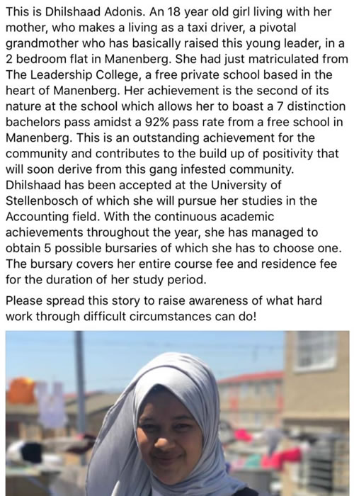 Dhilshaad does Manenberg proud with 7 distinctions
