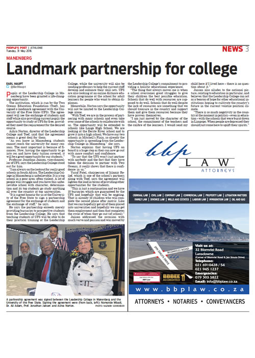 Landmark partnership for college