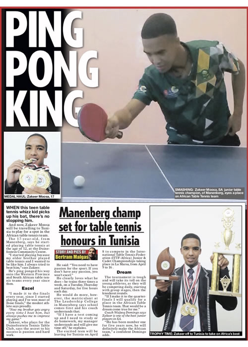 Manenberg champ set for table tennis honours in Tunisia
