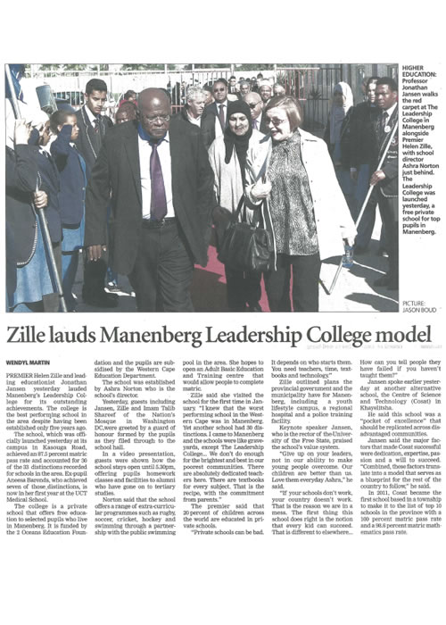 Zille lauds Manenberg Leadership College model